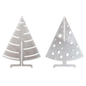 Sapin de Noël de table argenté en inox
