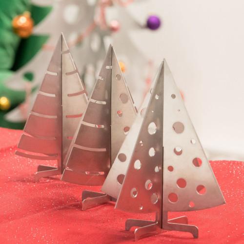Mini sapin de Noël argenté en inox