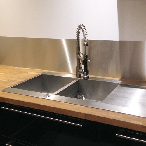 Stainless steel splashback plate to stick