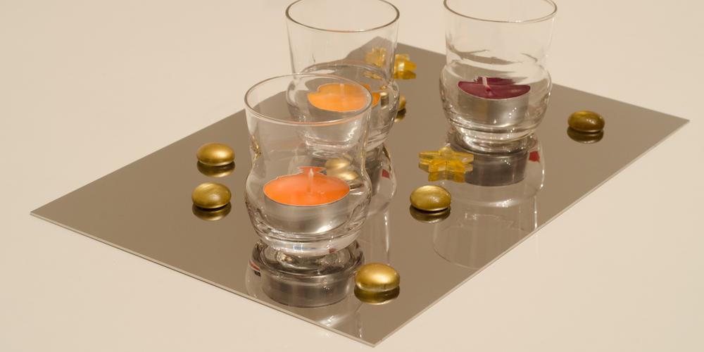 Metal effet mirroir pour dessous de verre ou dessous de plat