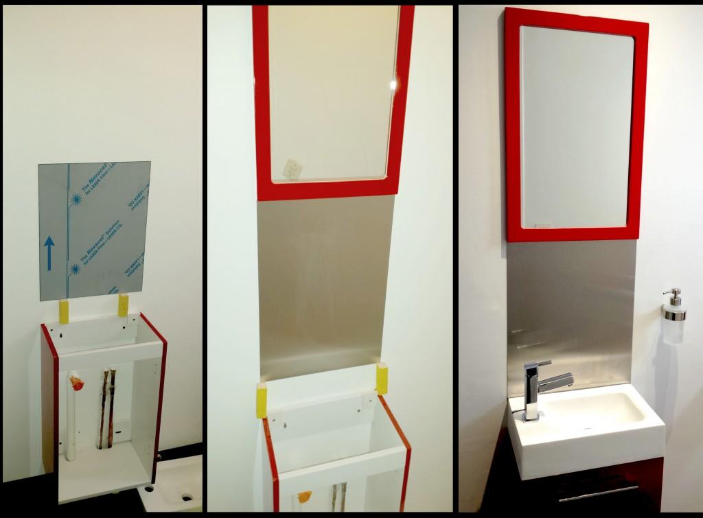 Lavabo salle de bain crédence inox