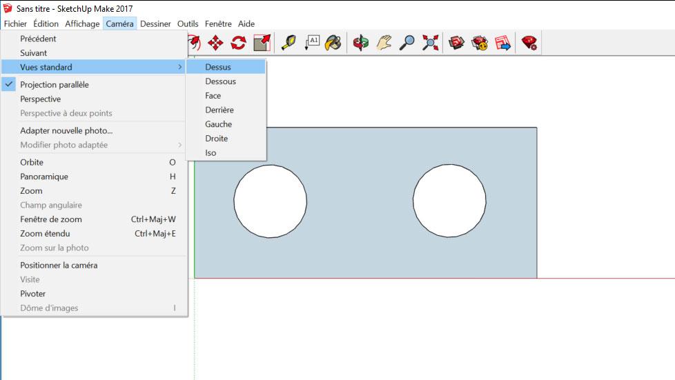 choisir la vue sketchup pour export fichier dxf