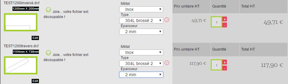 orientation de la pièces dans le fichier dxf