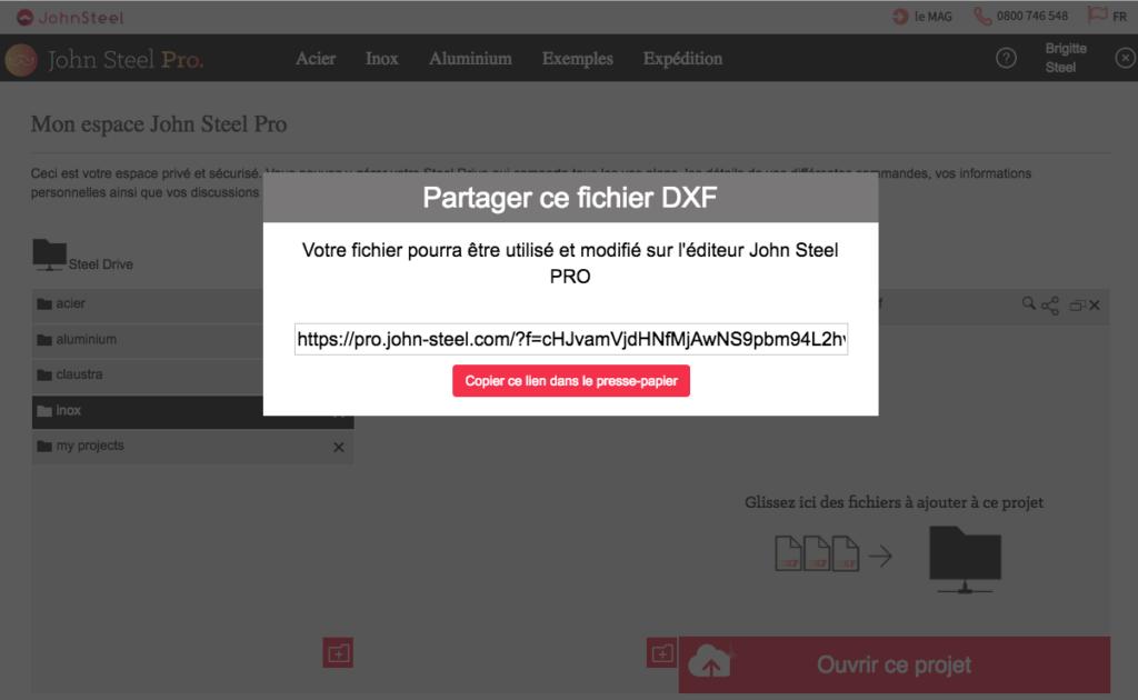 Partager un fichier dxf depuis le compte sans indiquer de paramètres
