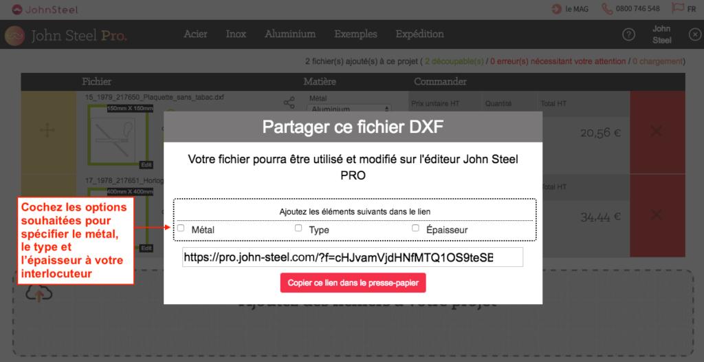 Partager un fichier dxf en cochant les options souhaitées
