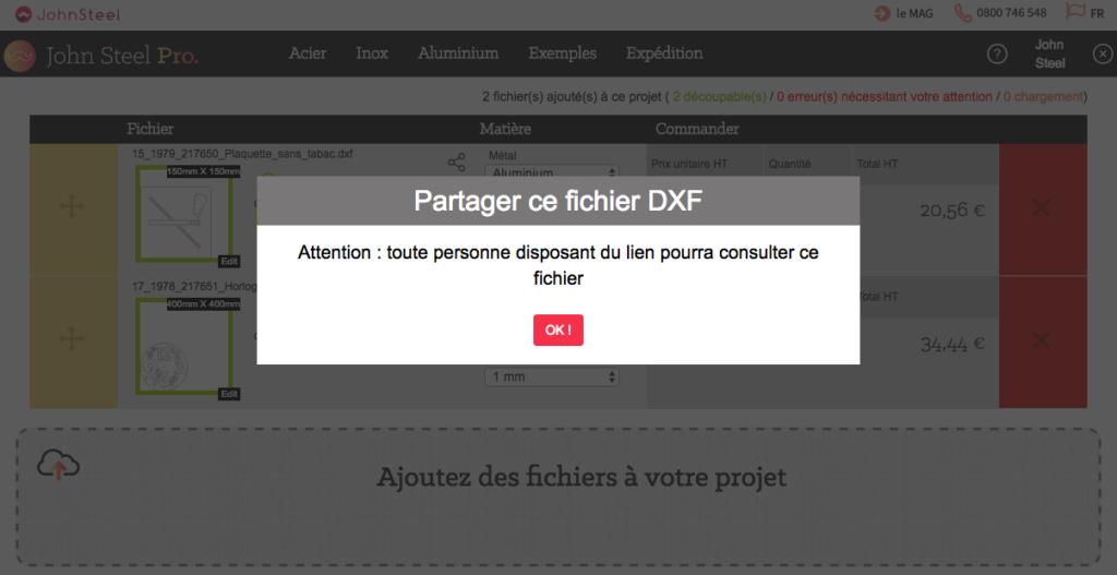 Partager un fichier dxf donne accès à toute personne disposant du lien