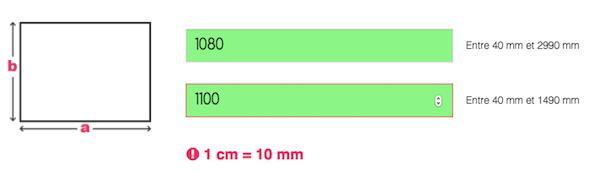 Saisie des dimensions de la plaque rectangulaire