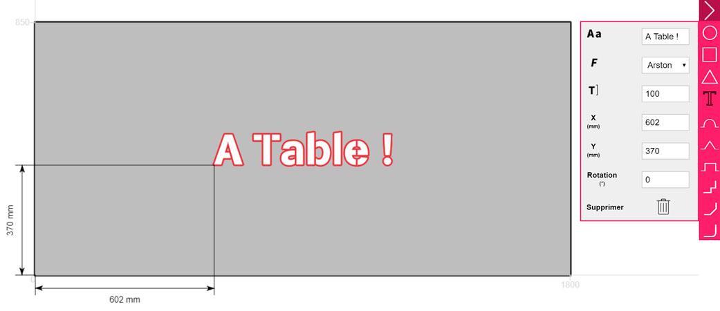Configuration d'un dessus de table en inox