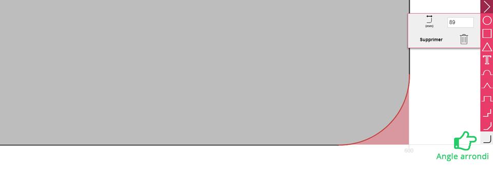 Icône angle arrondi de la barre d'outils