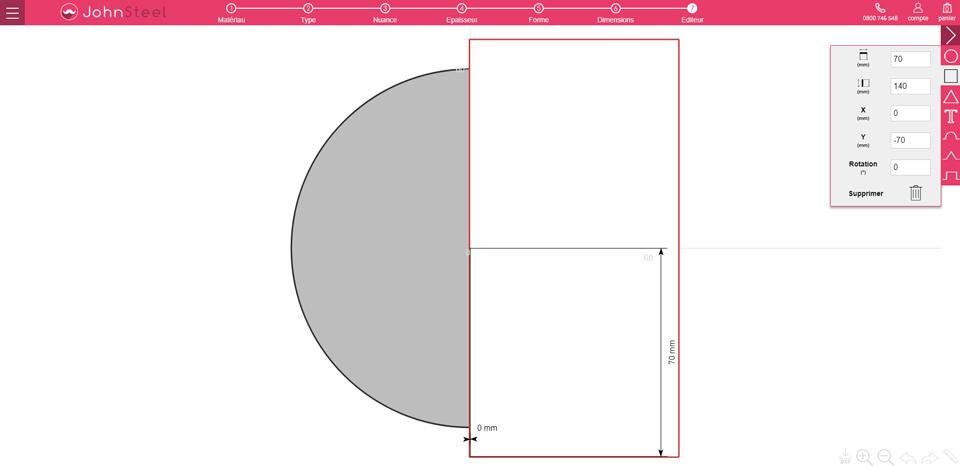 Astuce pour faire un demi-cercle dans le configurateur John Steel