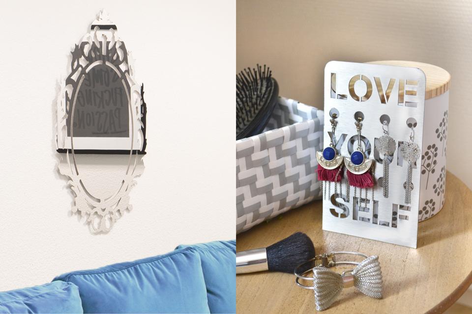 Miroir et porte-bijoux en inox