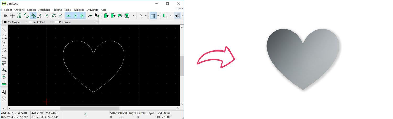 Rendu de la découpe d'un cœur simple à partir d'un DXF