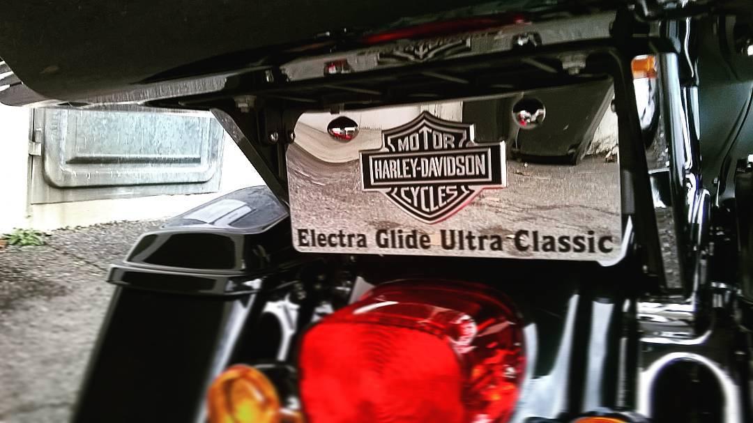 Plaque décorative pour moto en inox miroir avec logo Harley-Davidson