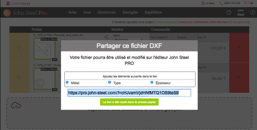 Partager un fichier dxf avec les options de votre métal
