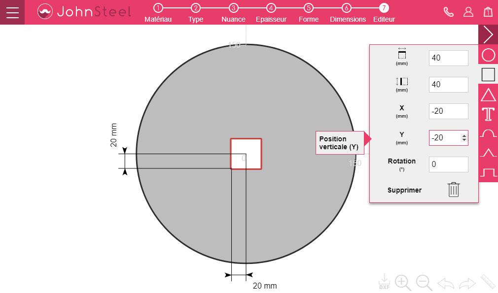 Découpe carré au centre d'une pièce circulaire - Etape 4