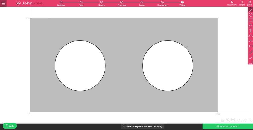 Configurateur John Steel : pièce avec découpe de deux cercles