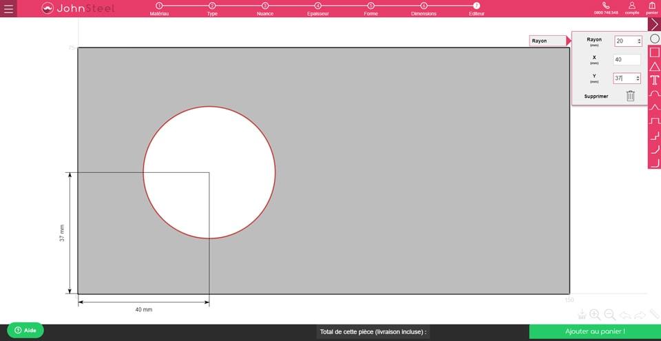 Configurateur John Steel : ajoutez la découpe cercle