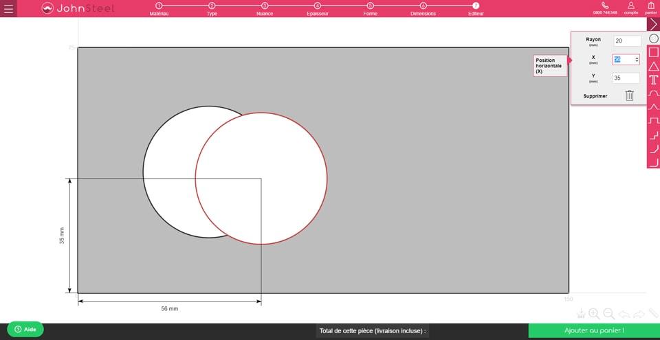 Configurateur John Steel : dupliquer une découpe cercle