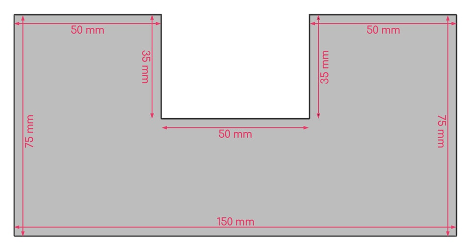 Dimensions de la découpe en U exemple