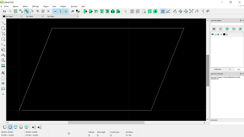 Visualisation du parallélogramme avec LibreCAD