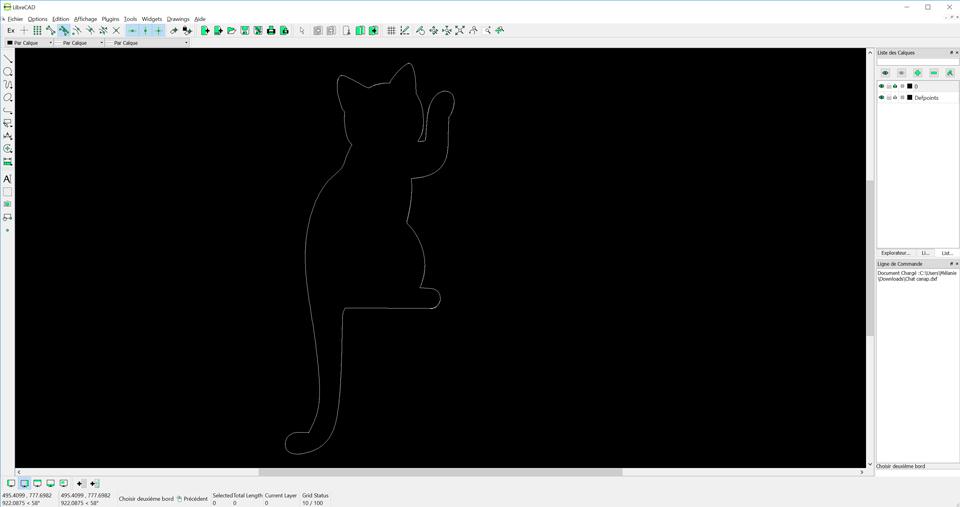 Aperçu du fichier dxf du chat en métal
