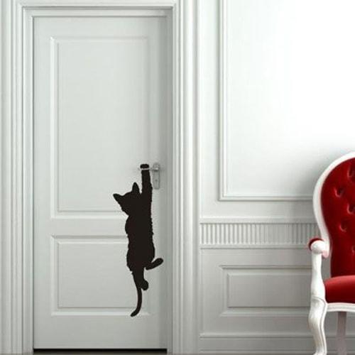 Silhouette de chat pour la porte
