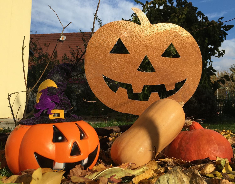 Décoration d'Halloween citrouille en acier corten