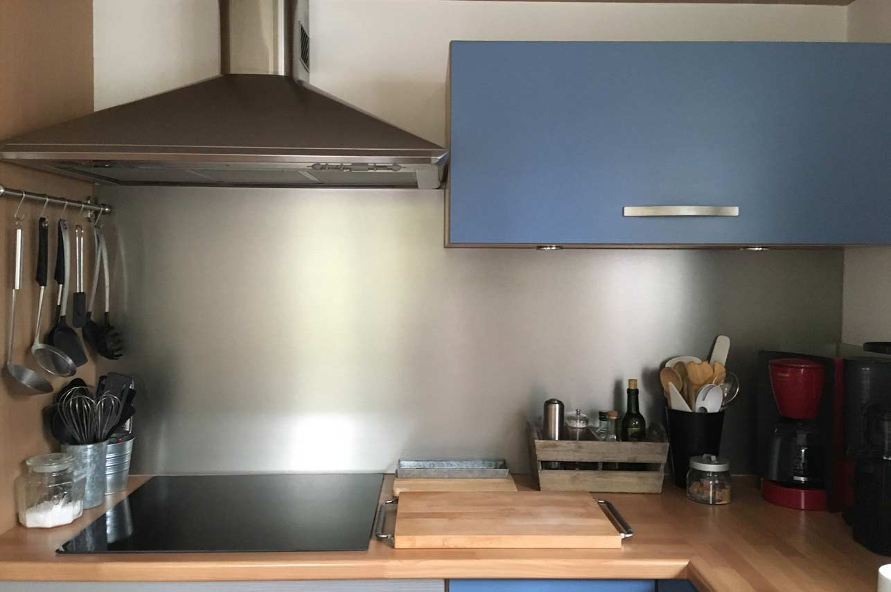 Küchenrückwand aus Edelstahl