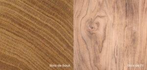 comparaison bois de bout et bois de fil